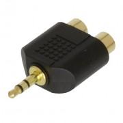 Stereo audio adapter 3.5 mm muški - 2x RCA ženski crni